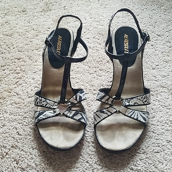 Black & White Wedge Sandals